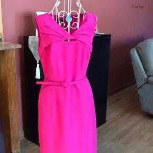 Hot pink twist cut out dress